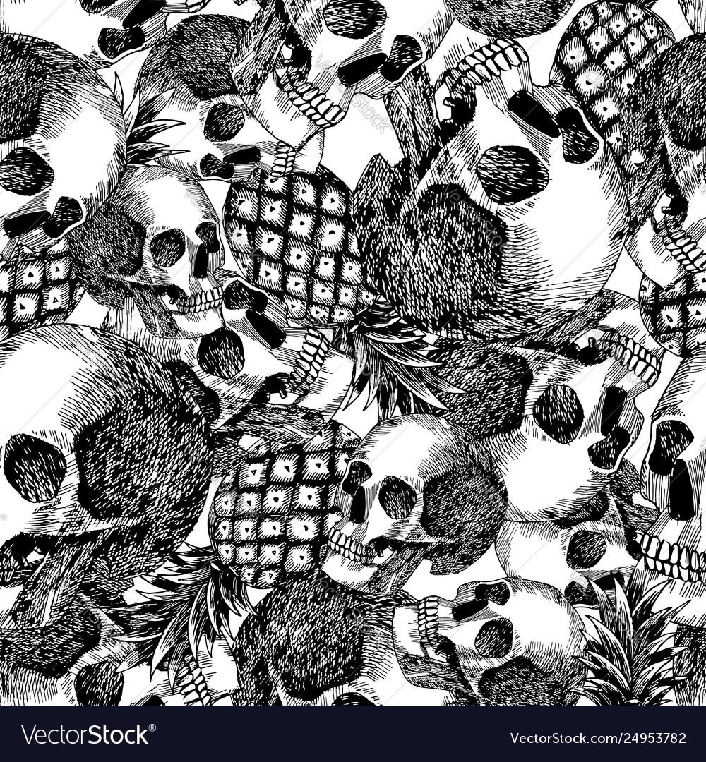 Skull pineapple in pencil seamless