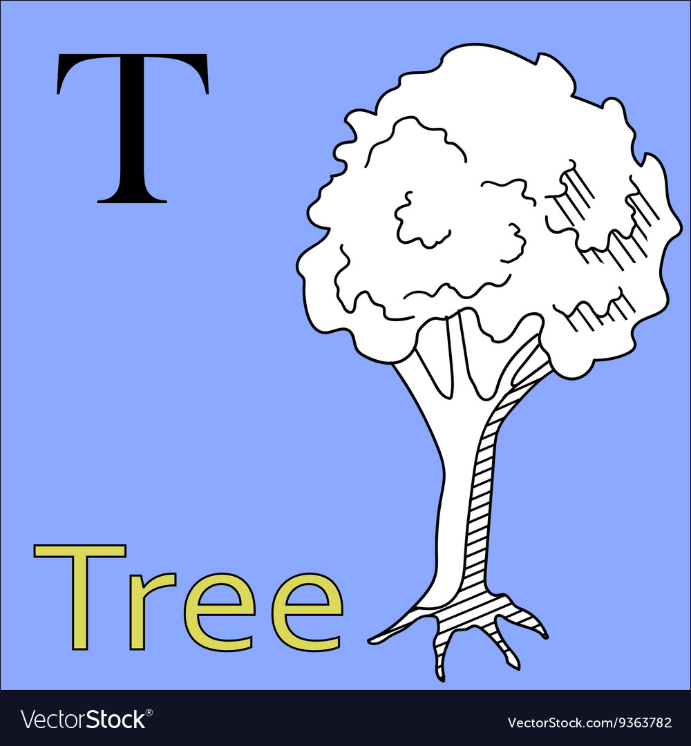 T letter alphabet Coloring book tree