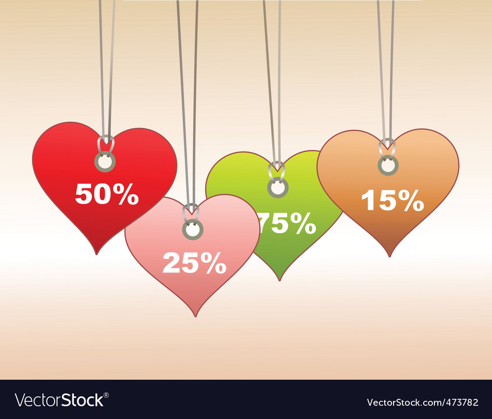Tags in heart shape vector image