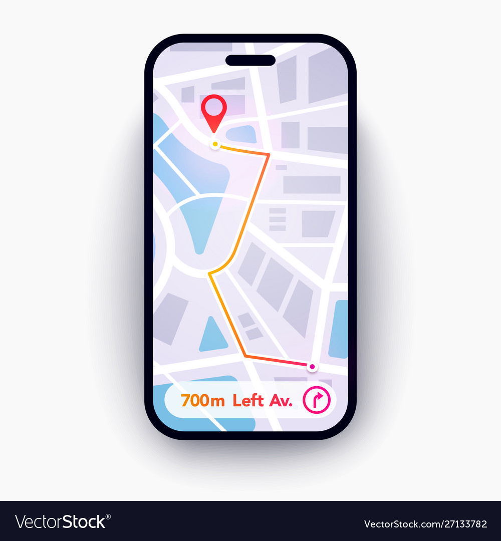 Trendy infographic city map navigation mobile app