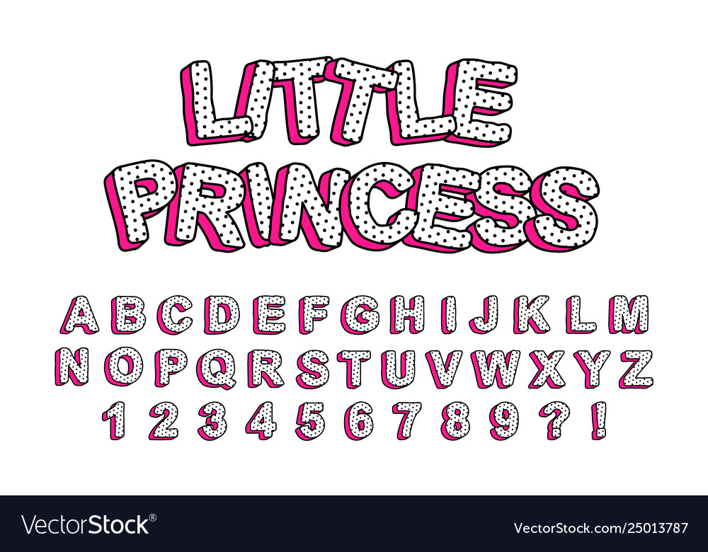 3d cute kids letters with pink shadow