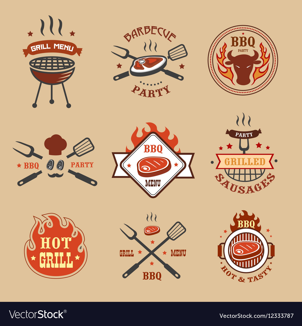 Barbecue grill labels badges Bbq logos