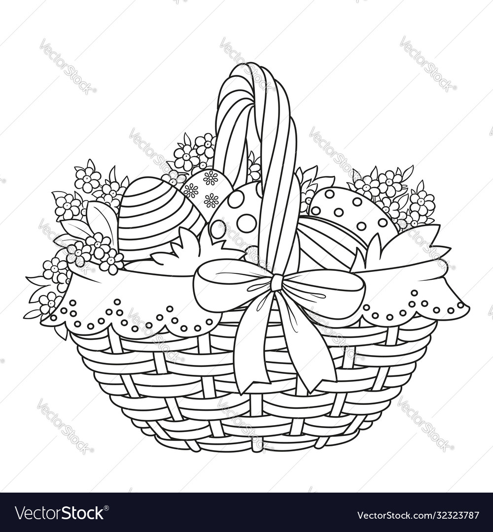 Basket with easter eggs and flowers outlined