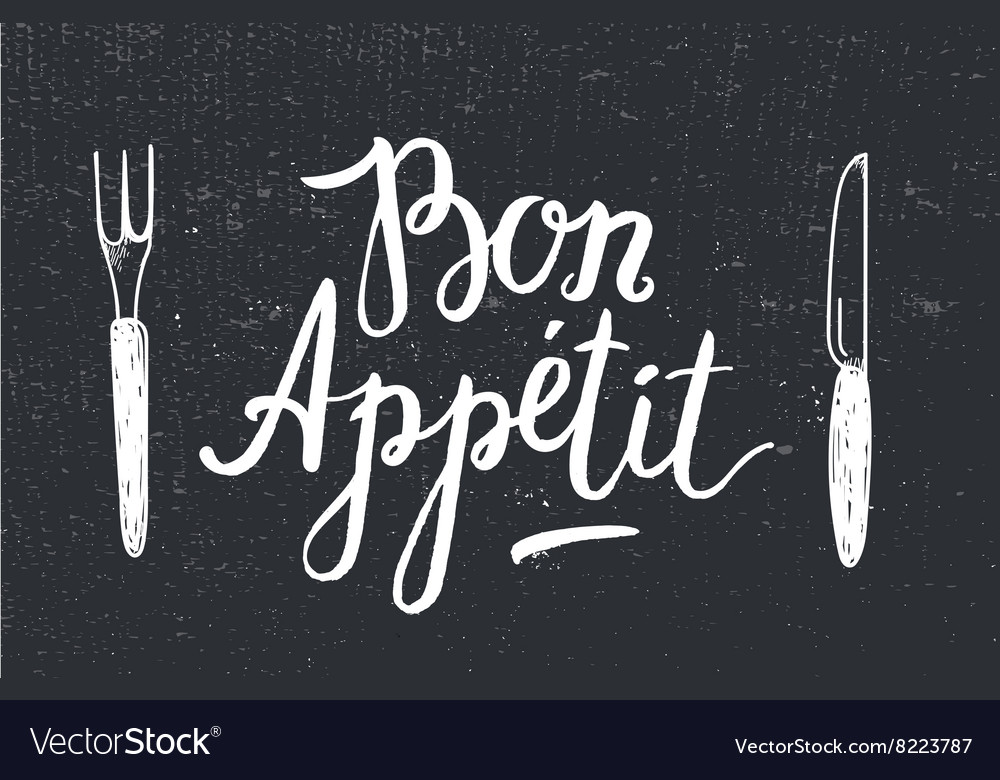 Bon Appetit poster with fork and knife on