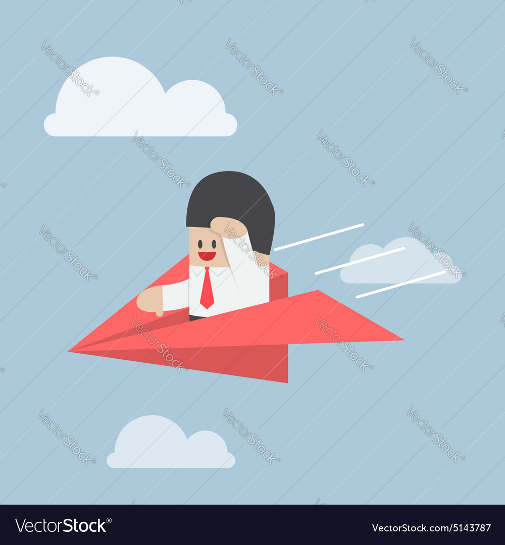 Businessman is flying on paper airplane and lookin
