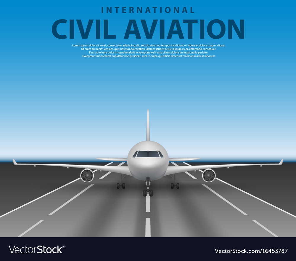 Civil passenger airliner jet on runway commercial