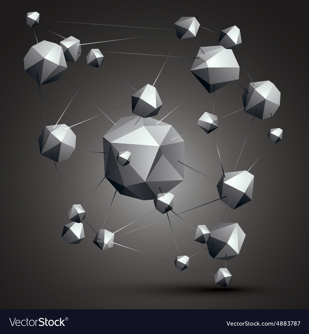 Complicated abstract grayscale 3D shapes digital vector image