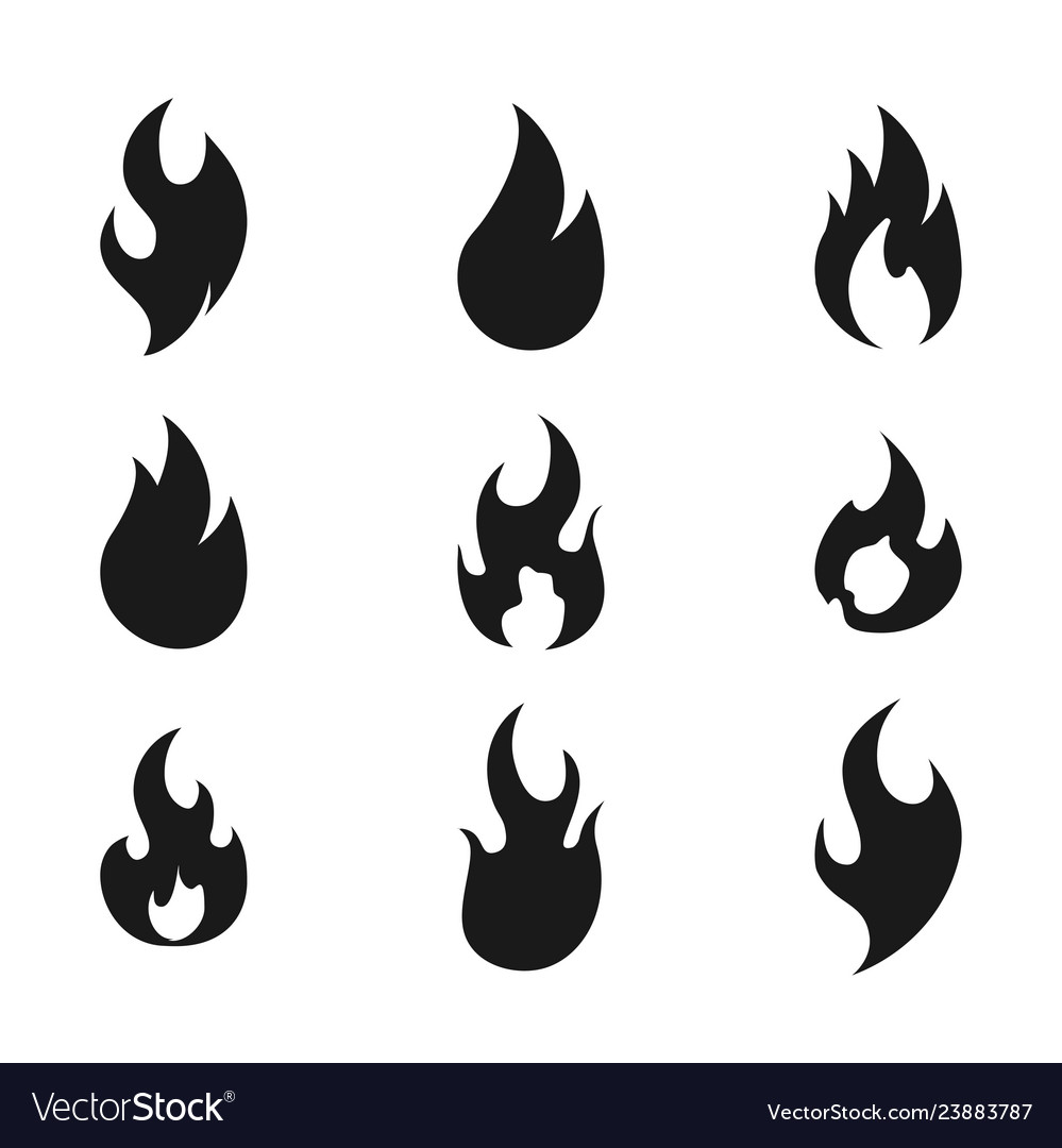 Fire flame logo icon set of nine