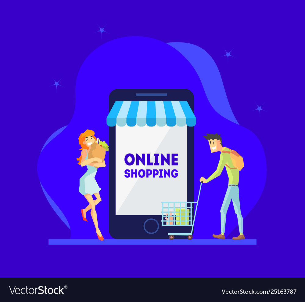Online shopping concept man and woman using