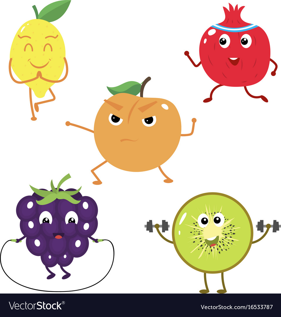 Set of funny characters from fruit sports
