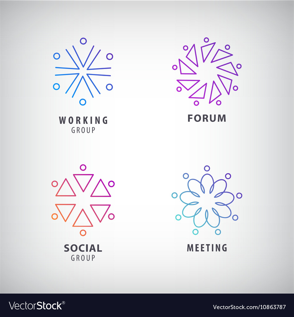 Set of logos social relationship meeting