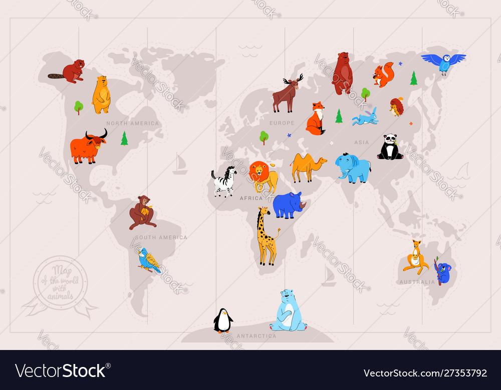 Animals on world map flat
