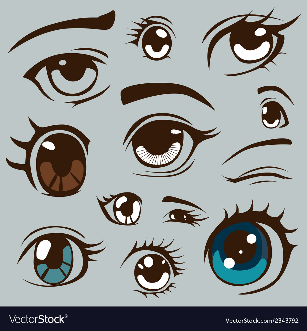 Anime style eyes set