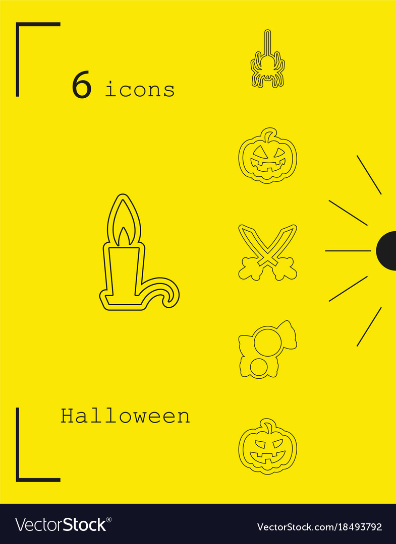 Collection of 6 halloween icons in thin line style