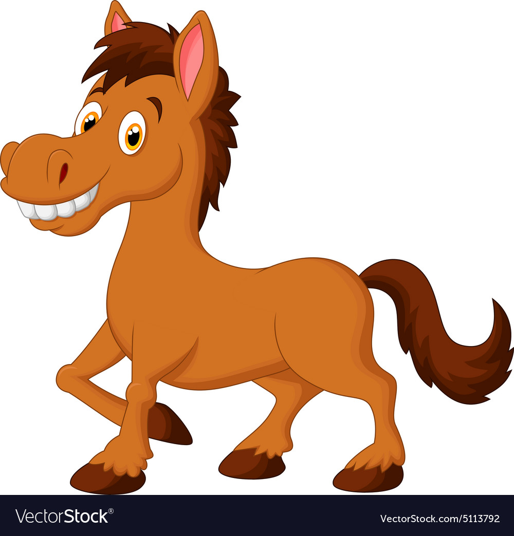 Cute Cartoon Brown Horse Royalty Free Vector Image