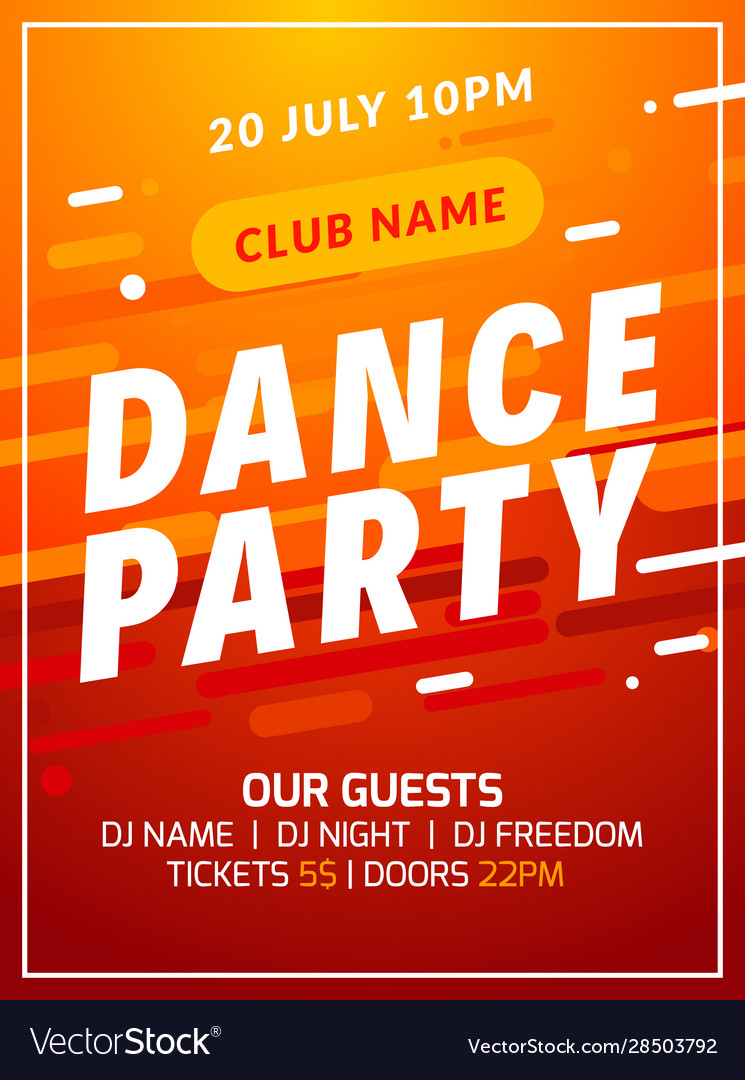 Dance Party Disco Flyer Poster Music Event Banner Vector Image