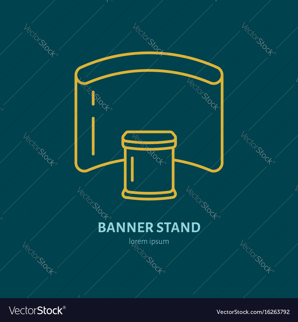 Exhibition banner stand flat line icon vector image