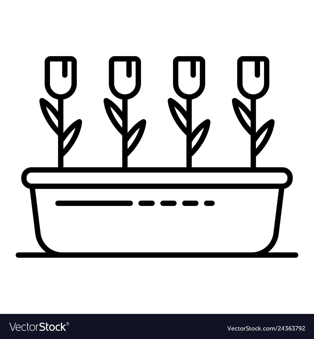 Garden flower pot icon outline style vector image  sc 1 st  VectorStock & Garden flower pot icon outline style Royalty Free Vector