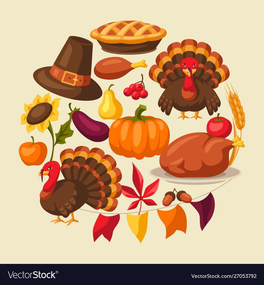 Happy thanksgiving day greeting card with objects