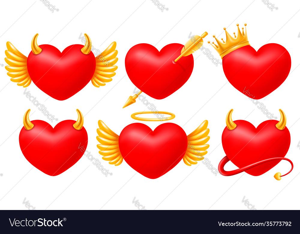 Hearts angel and devil set