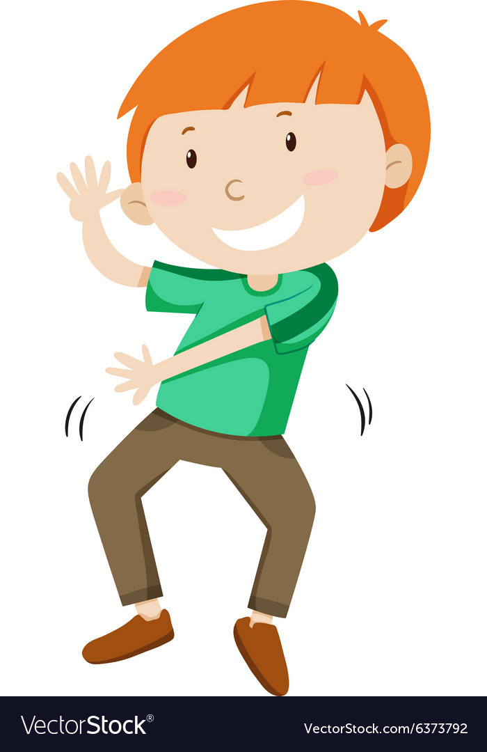 Little boy dancing alone vector image