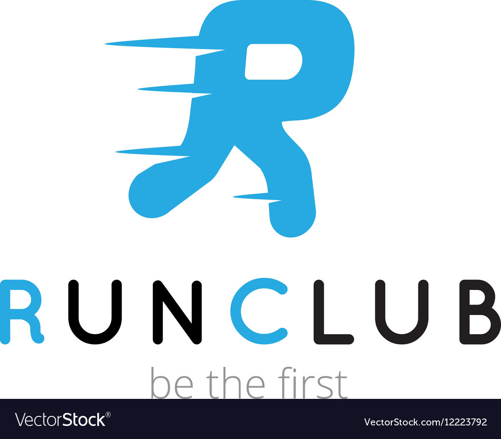 R letter creative running club logo abstract sport