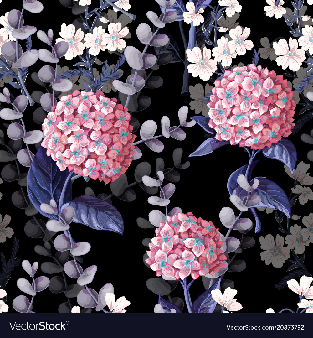 Seamless Pattern With Hydrangeas Cotton Flowers Vector Image