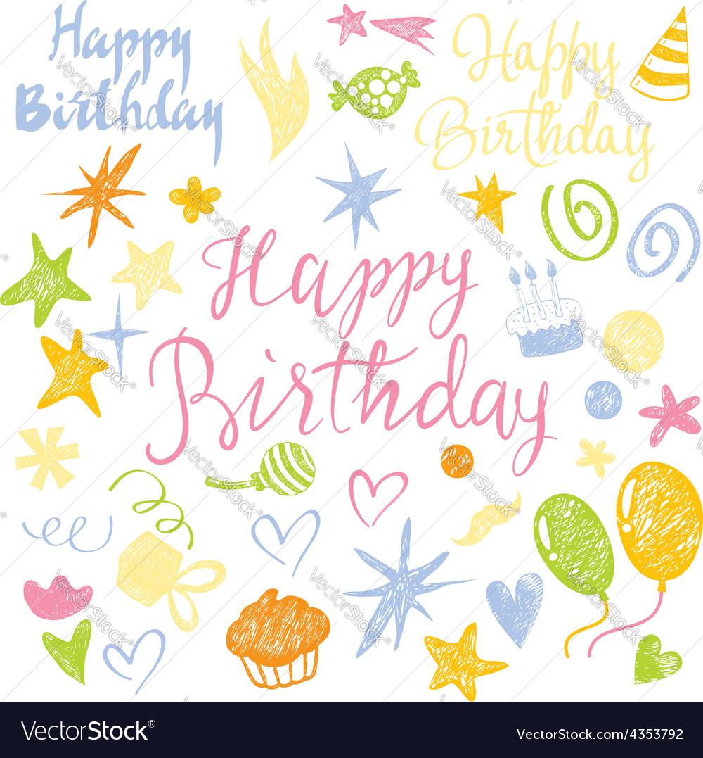 Set elements Birthday vector image