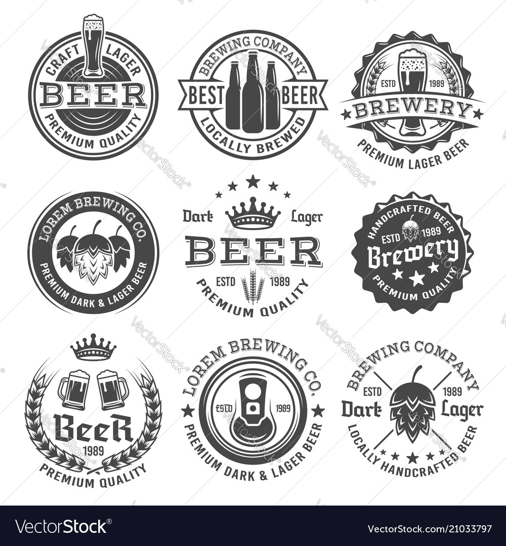 Beer and brewery black and white emblems