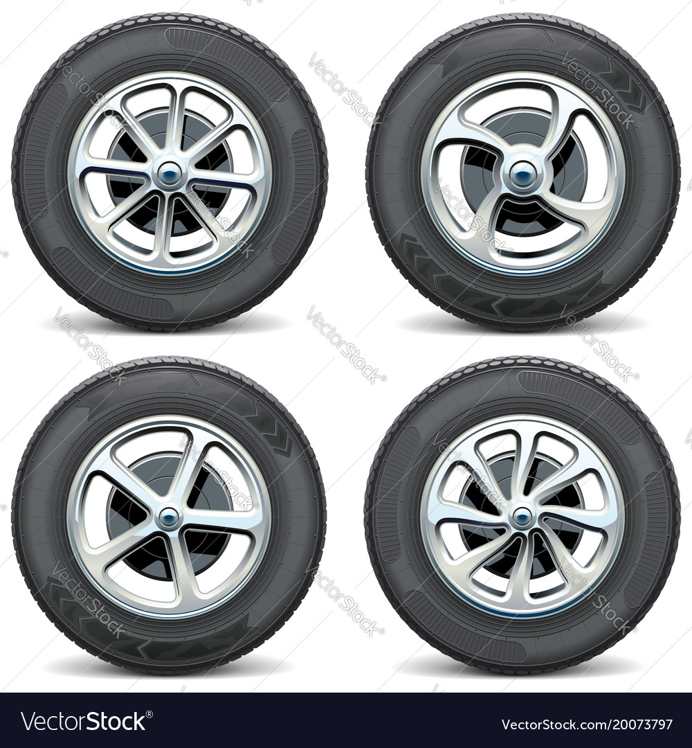 Car wheels side view