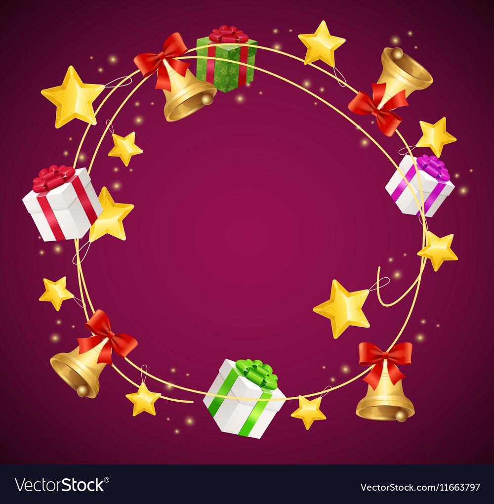 Christmas and Birthday Gift Box Garland Background vector image