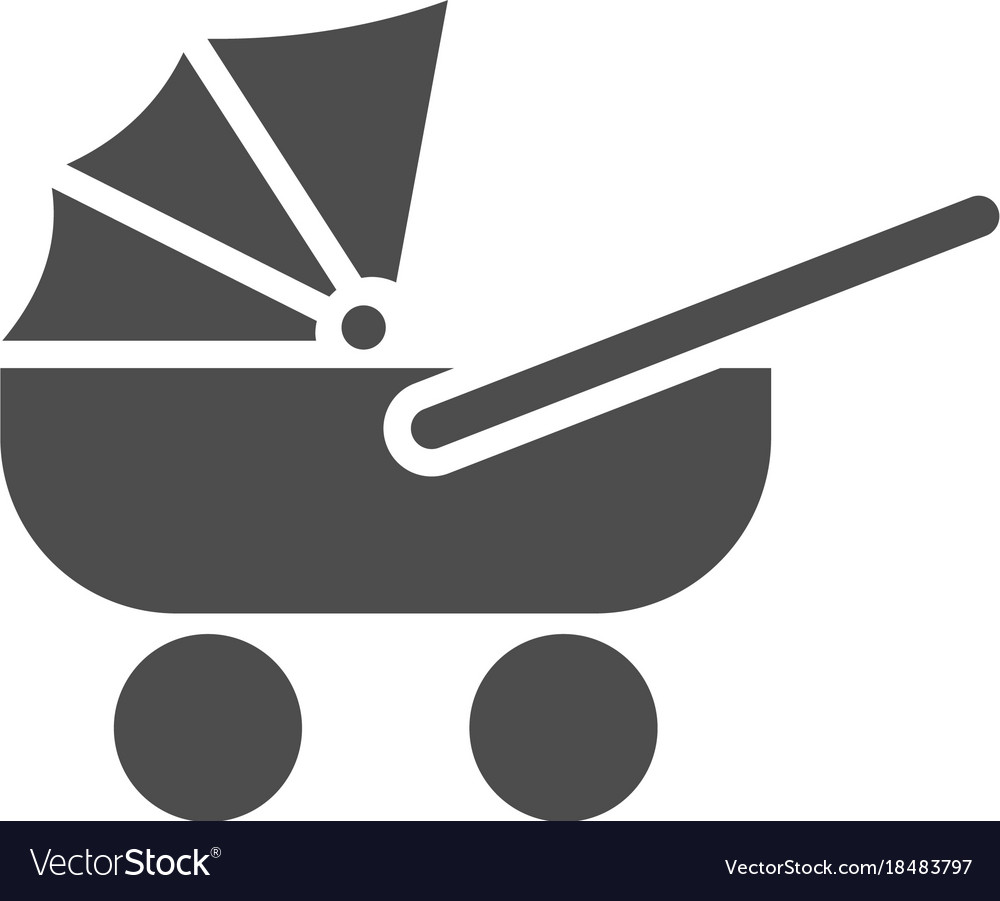 Cute black baby carriage icon on a white
