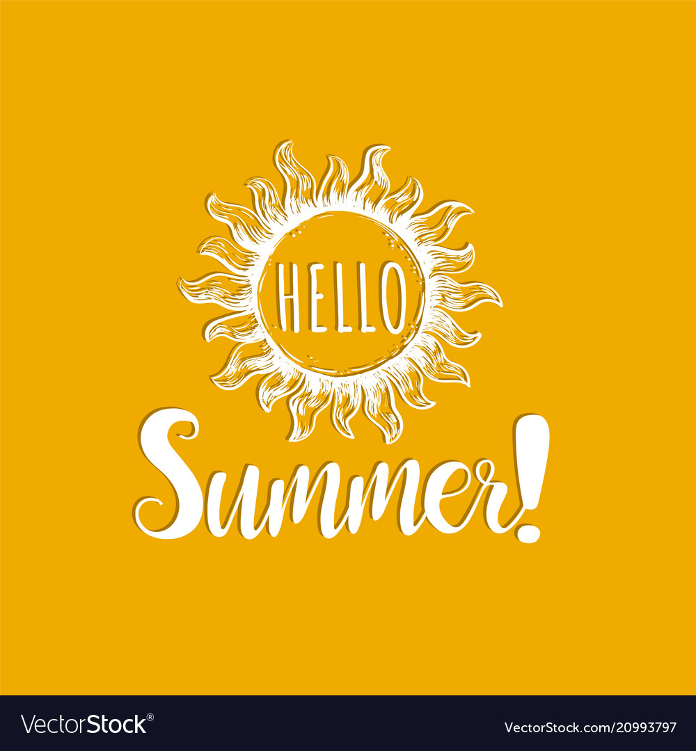 Hello summer hand lettering