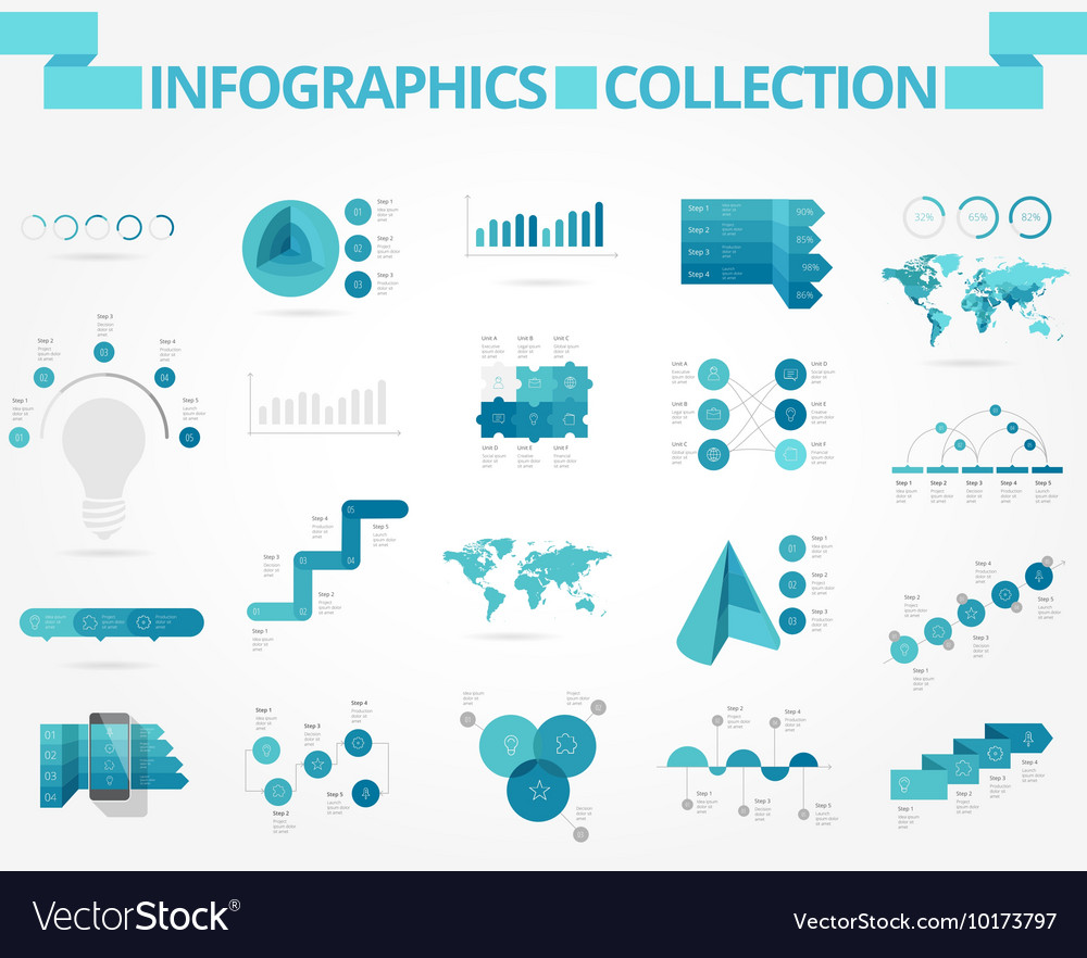 Infographics collection blue data