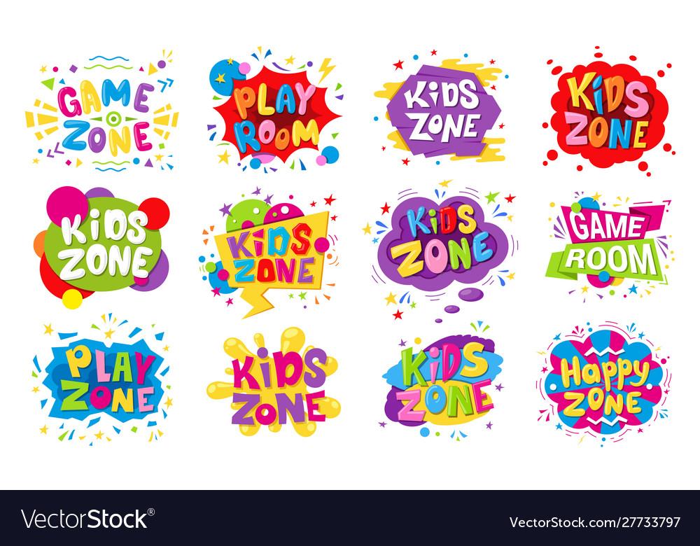 Kids zone emblem colorful cartoon