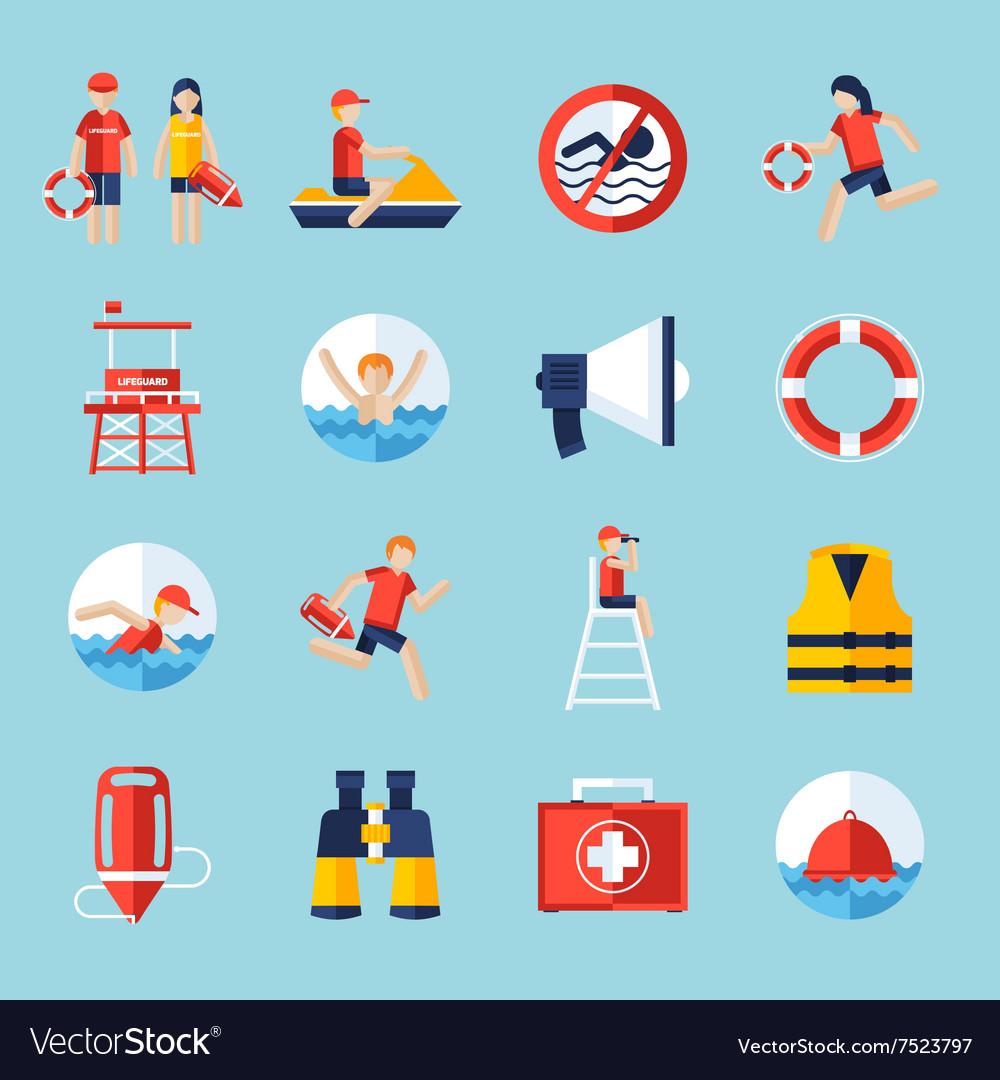 2af8de5b04c Lifeguard icons set Royalty Free Vector Image - VectorStock