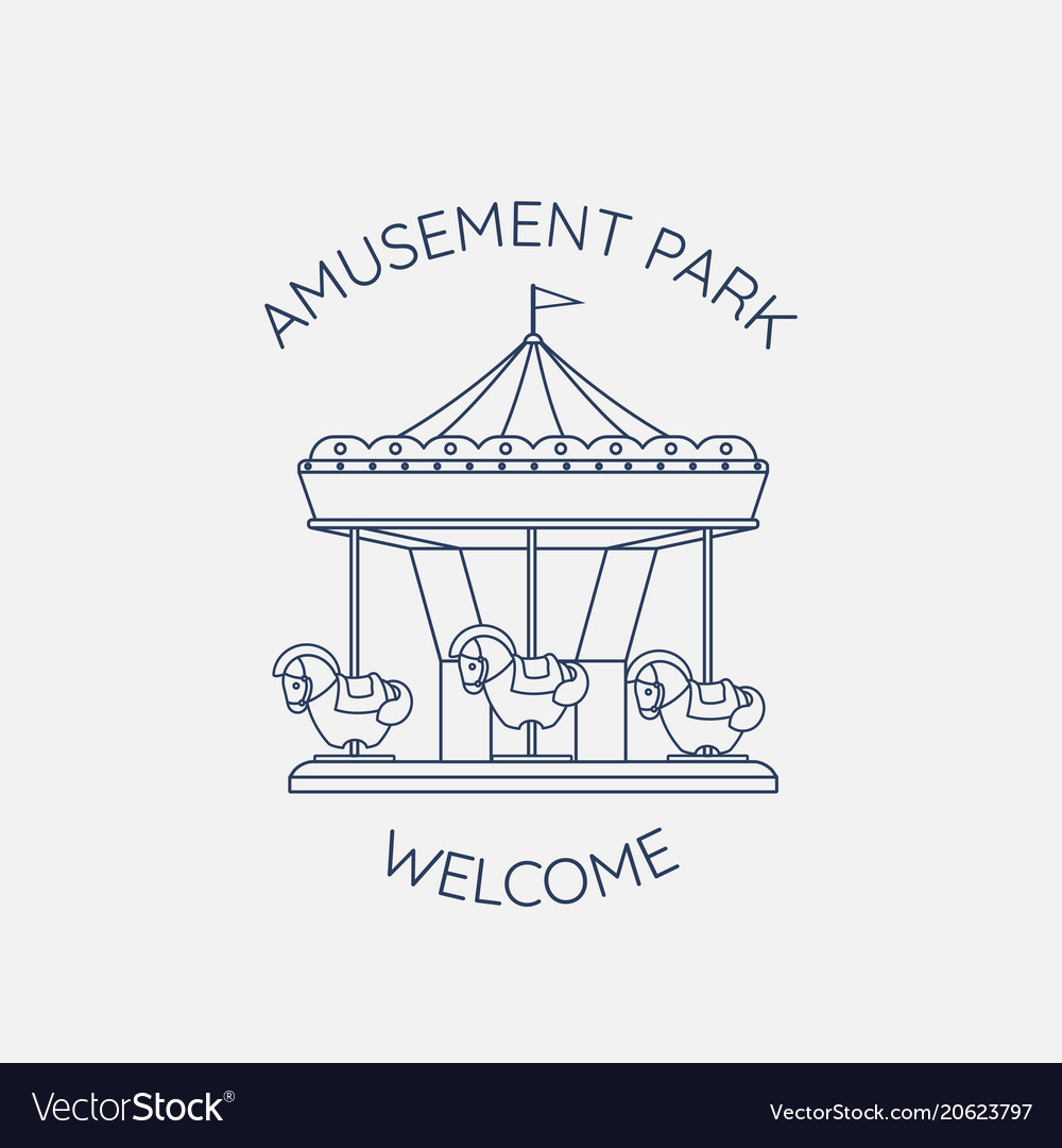 Merry-go-round carousel with horses in linear vector image