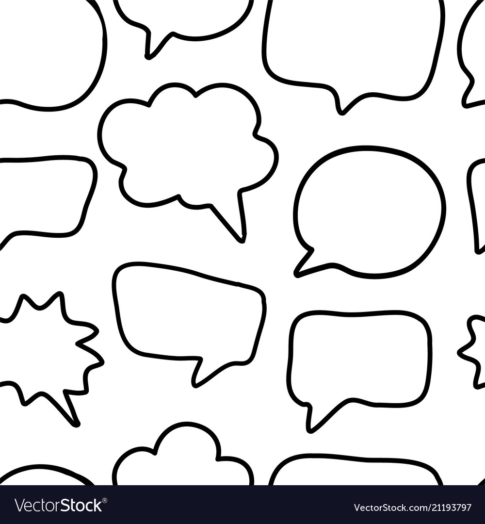 Outline hand drawn speech bubble seamless pattern