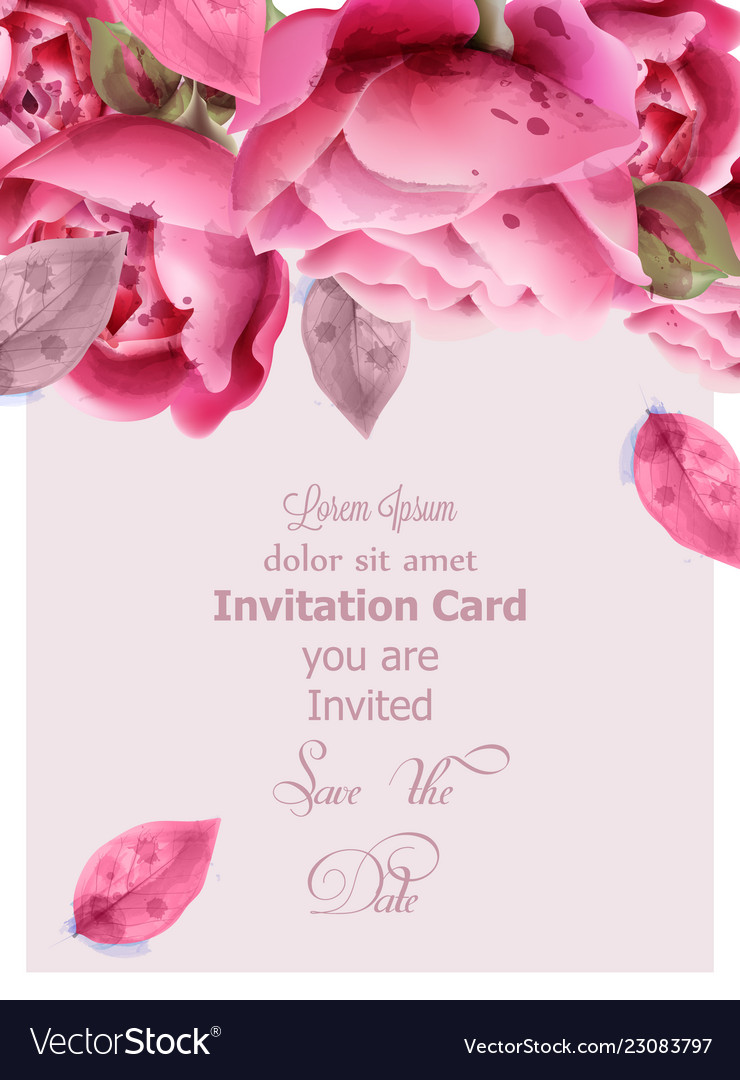 Pink roses watercolor invitation card