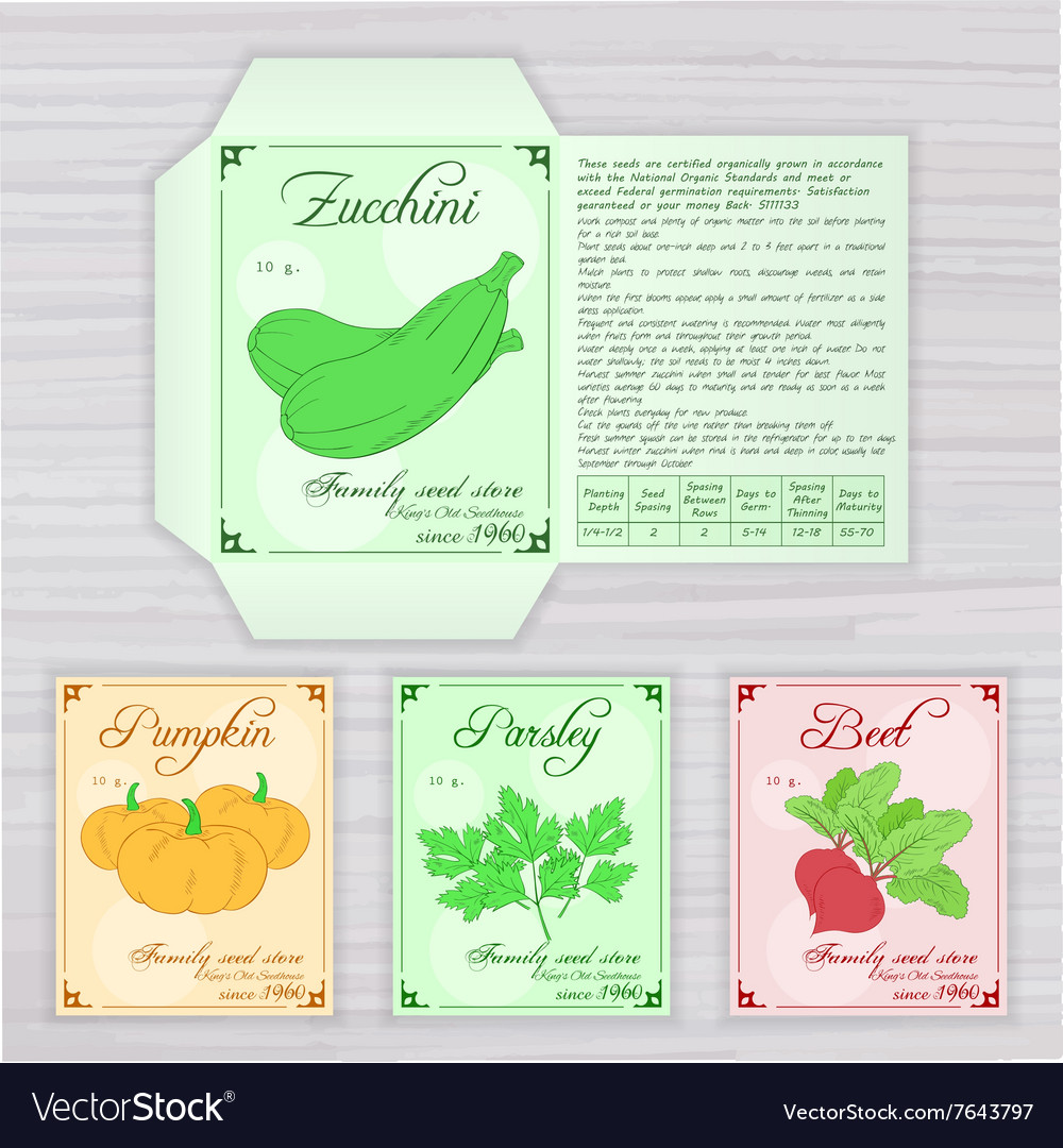 Printable Template Of Seed Packet With Image Name Vector Image - Seed packet template