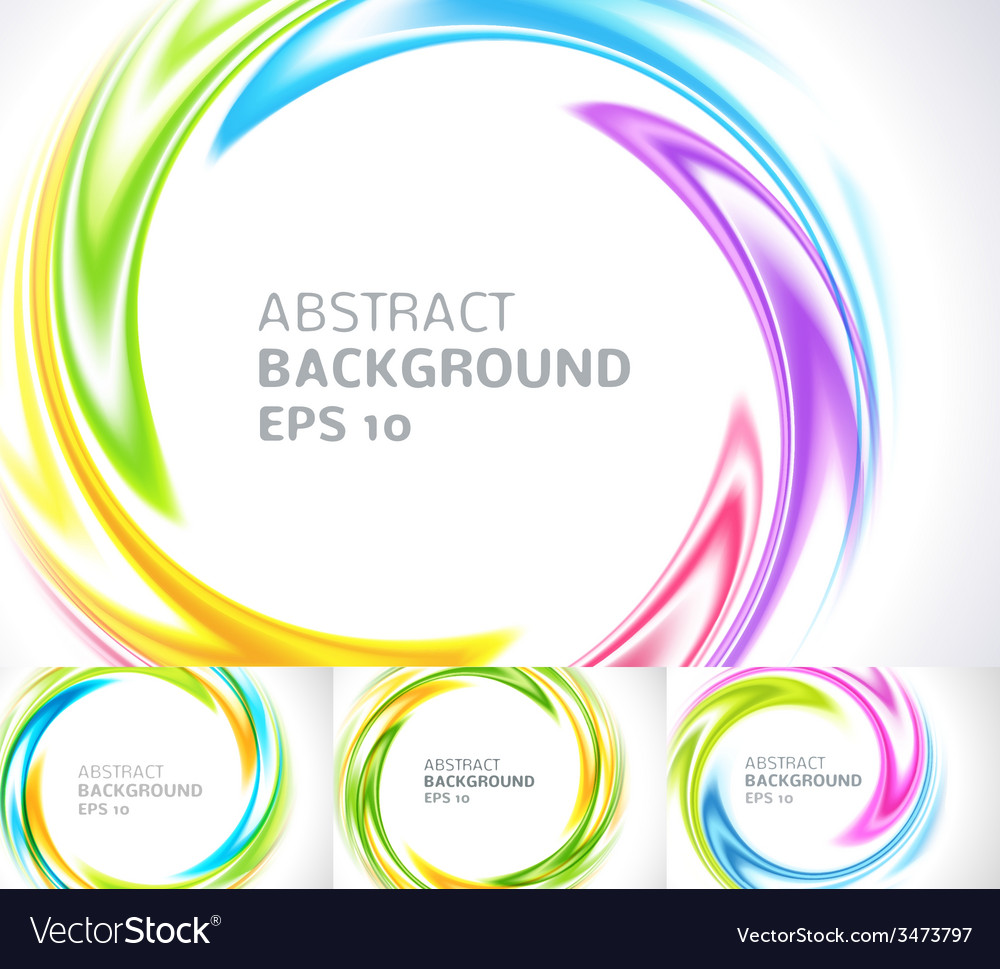 Set of abstract swirl circle bright background