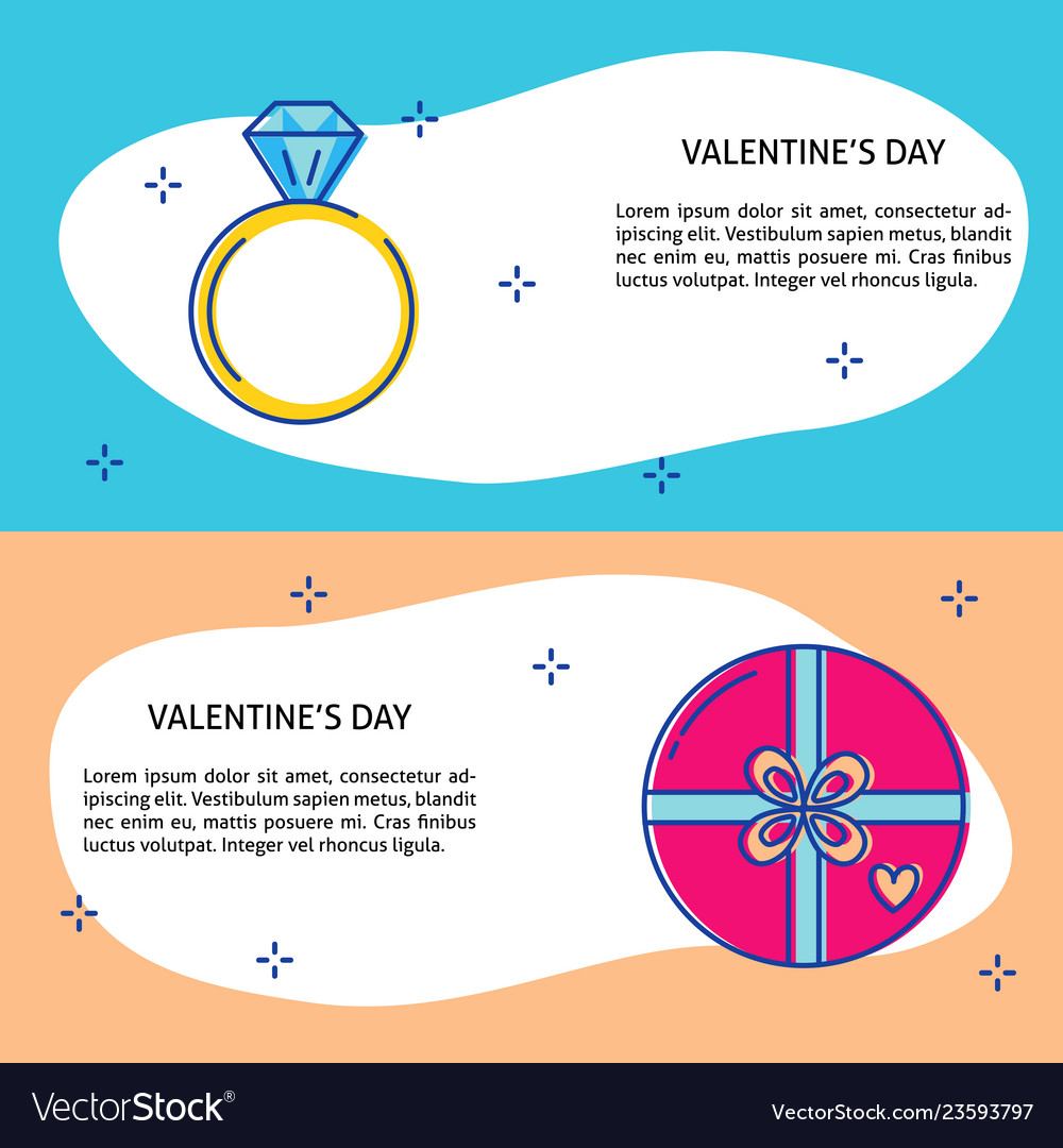 Valentines day concept banner templates in line