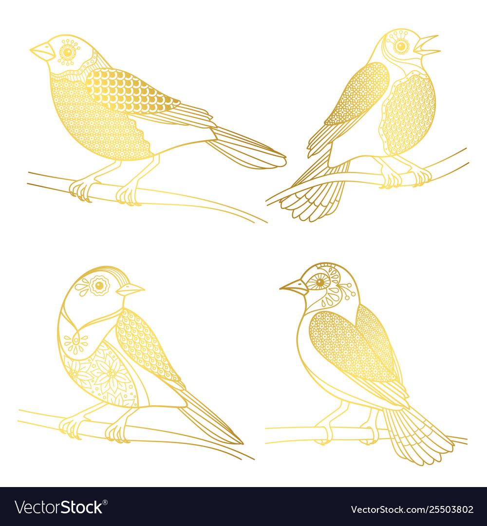 Beautiful golden birds isolated on white