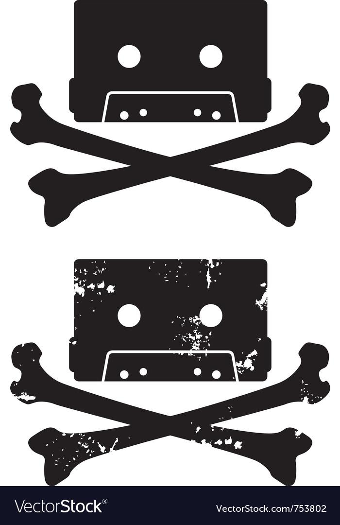 Cassette skull icon vector image