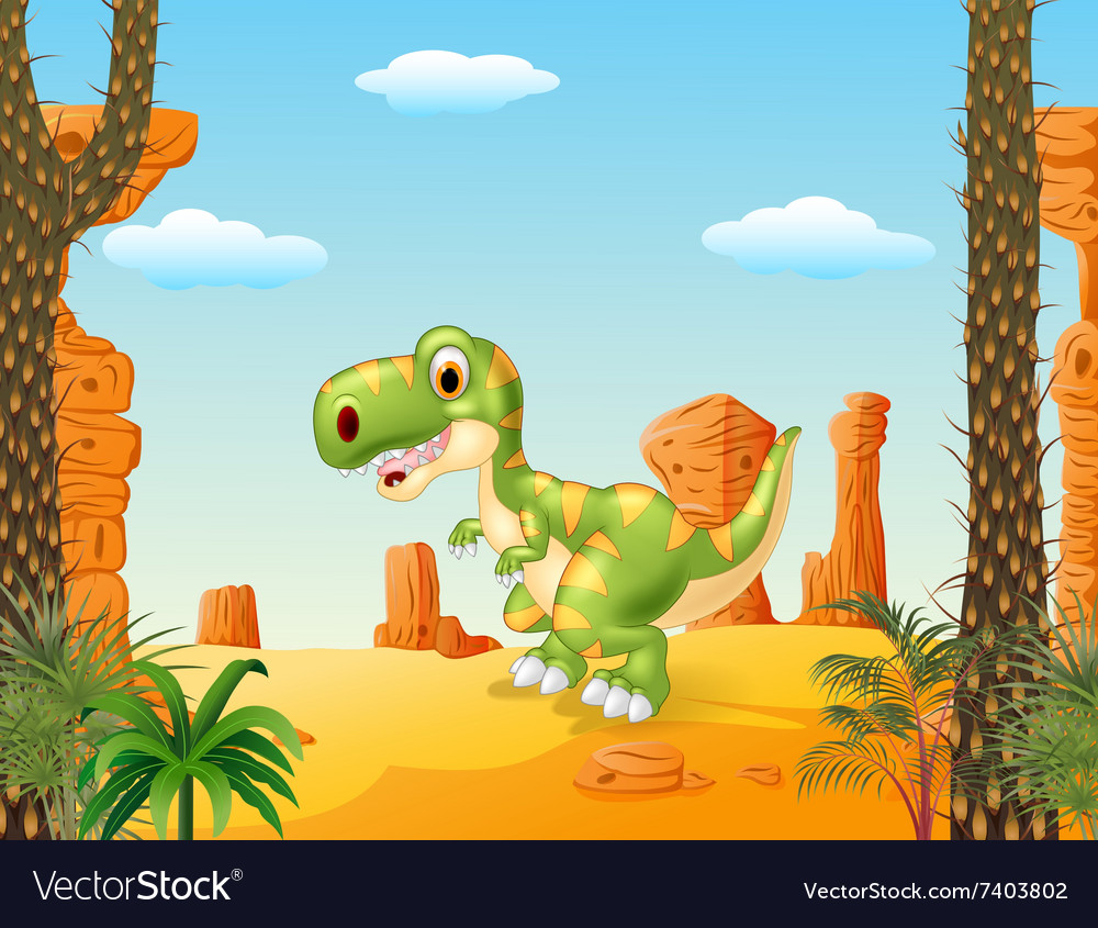 Cute baby tyrannosaur with the desert background