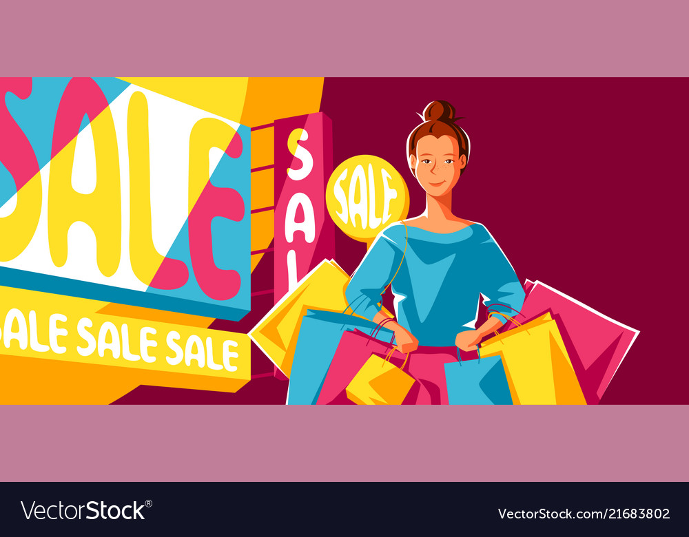 Cute girl with packages on sale