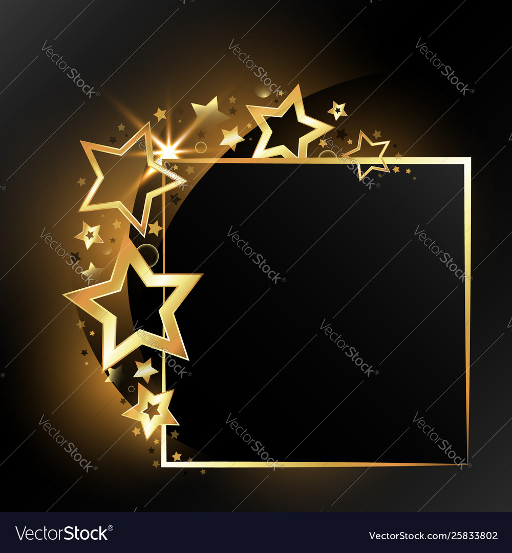 Festive gold frame with stars