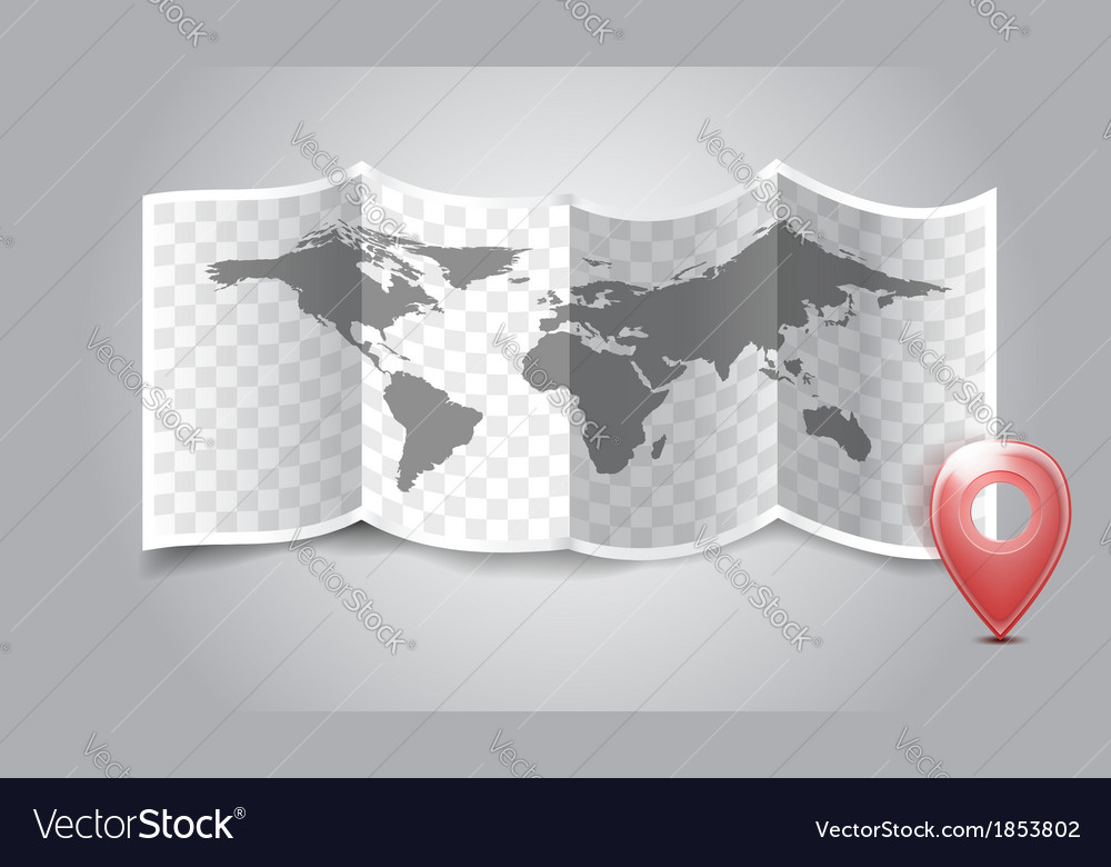 Folded world map with gps marks royalty free vector image folded world map with gps marks vector image gumiabroncs Gallery