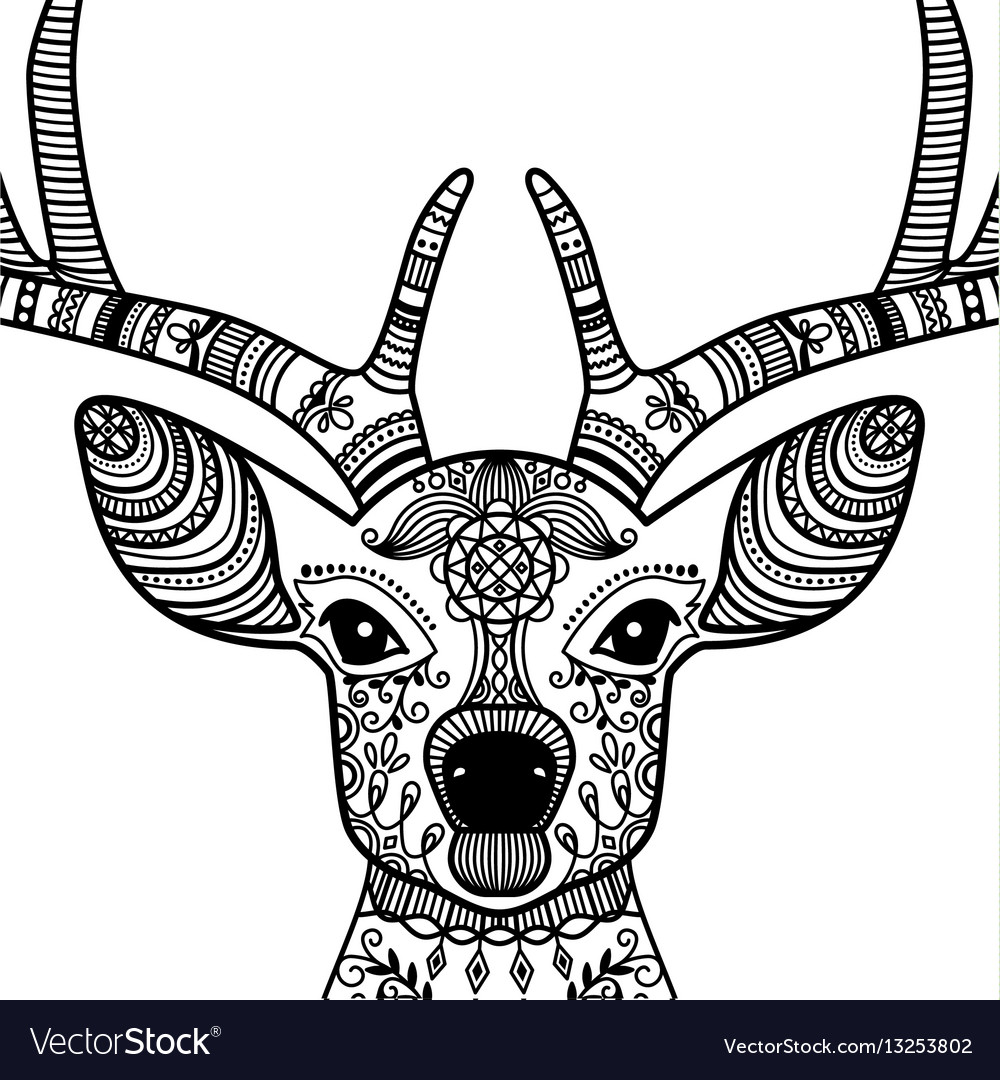 Horned deer head with floral ornament Royalty Free Vector