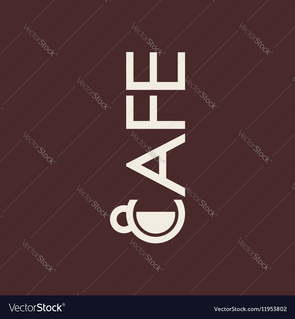 Logo with cup and text cafe